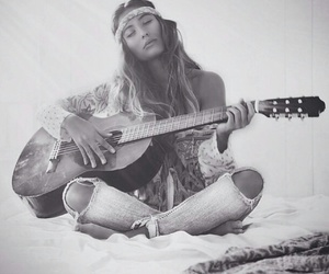 bohemian, guitar, and hippie image