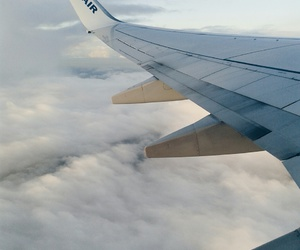 airplane, clouds, and sky image