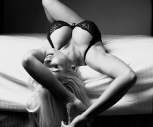 ass, black and white, and blonde image