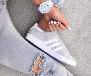adidas, grey, and jeans image