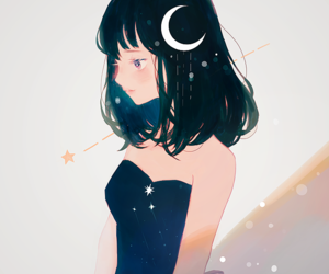 anime, drawing, and moon image