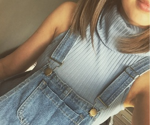 dungarees and girl image