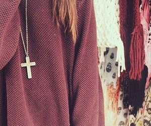 cross, outfit, and sweater image