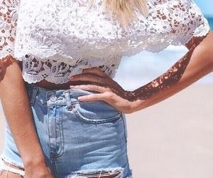 beach, denim shorts, and lace image