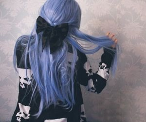 hair, blue, and bow image