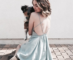 blue, dog, and girl image