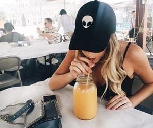girl, tumblr, and drink image