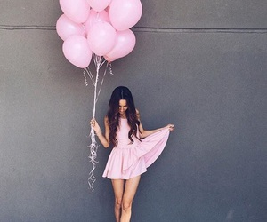pink, girl, and dress image