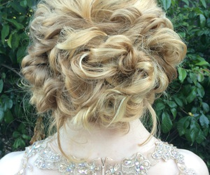 blonde, bun, and curls image