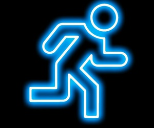 blue, neon, and run image