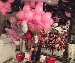 girl, pink, and balloons image