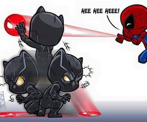 black panther, spiderman, and Marvel image