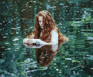 girl, water, and redhead image