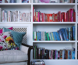 books, couch, and colour image