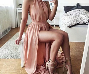 dress, heels, and long image