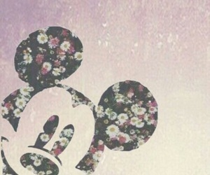 disney, mickey mouse, and flowers image