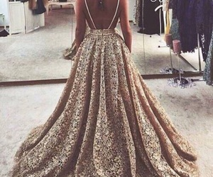 dress, fashion, and gold image