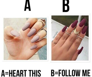 nails, heart, and follow image