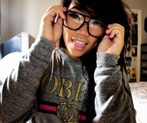 girl, glasses, and obey image