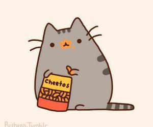 cat, Cheetos, and pusheen image