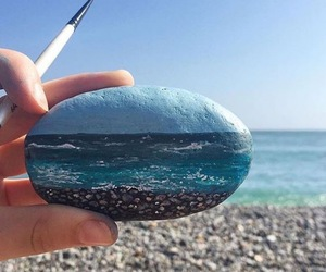 art, sea, and beach image