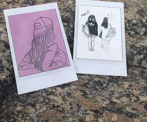 pink, polaroid, and white image
