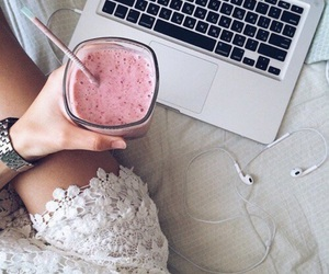 pink, smoothie, and drink image