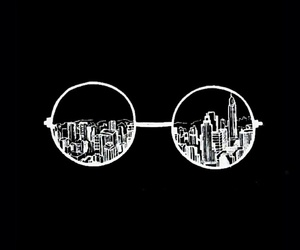 wallpaper, city, and glasses image