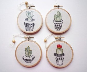 art, cactus, and embroidery image