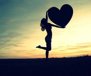 heart, love, and sunset image