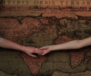 hands, hold, and map image