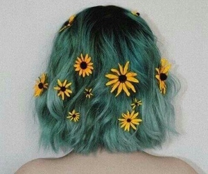hair, flowers, and grunge image