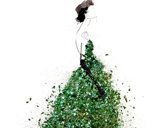 green, dress, and paper fashion image