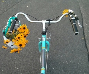 flowers, bike, and grunge image