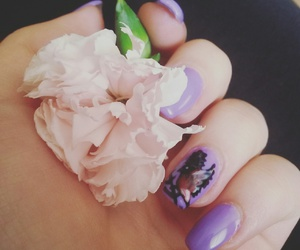 bird, flower, and nailart image