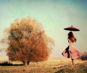 girl, tree, and umbrella image