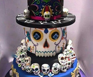 birthday cake, cake, and skull image