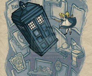 doctor who, alice, and alice in wonderland image