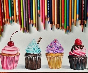 cupcake, art, and drawing image
