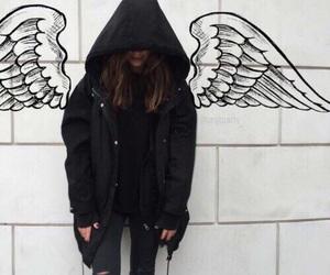 girl, angel, and black image
