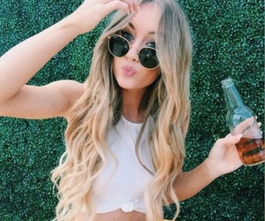 blonde, sunglasses, and drink image