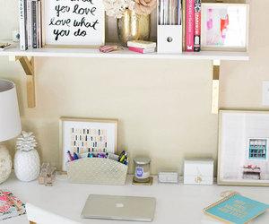 desk, room, and decoration image