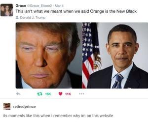 trump, funny, and obama image