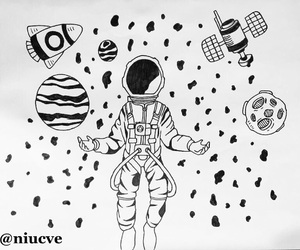 black and white, space, and my drawing image