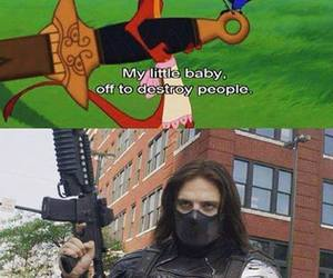 funny, Marvel, and bucky barnes image
