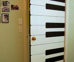 piano, door, and music image