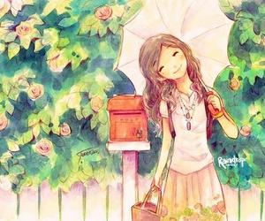 anime, smile, and umbrella image