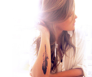 girl, tattoo, and feather image