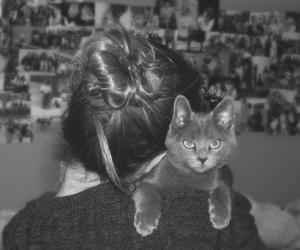 black and white, cat, and girl image