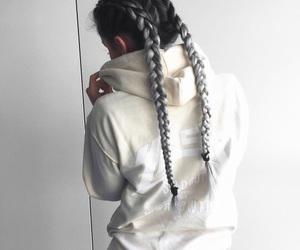 hair, braid, and grey image